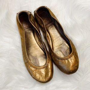 Tory Burch Eddie Gold Bronze Ballet Flats 7.5